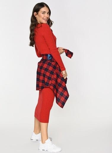 Loves You V Yaka Uzun Triko Elbise Kırmızı